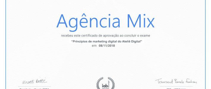 AGÊNCIA MIX CONQUISTA CERTIFICADO DE PROGRAMA DE MARKETING DIGITAL DO GOOGLE.